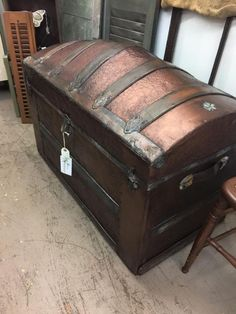 Leather Storage Trunk St C.c. K Fine Very Old Vintage Industrial Steamer Army