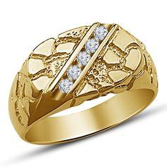 Mens Jewelry 10K Gold Plated White Diamond Wedding Slant Shape Wedding Band Ring #br925silverczjewelry #MensBandRing