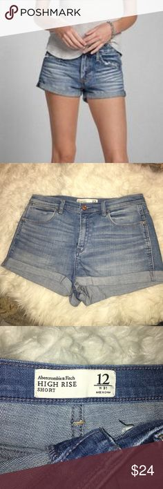 NEW💖ABERCROMBIE AND FITCH high rise shorts💖 brand new without tags! faded light blue denim shorts. cuffed hem. signature back pockets. never been worn. Abercrombie & Fitch Shorts Jean Shorts