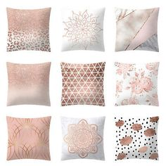 Sweet Rose Gold Pink Cushion Cover Square Pillowcase Home Decoration Gift Pink Cushion Covers, Pink Cushions, Pink Throw Pillows, Gold Pillows, Cushions On Sofa, Burlap Pillows, Sofa Bed, Decorative Pillows, Pillow Covers