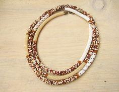 Long Beaded Crochet Rope Necklace Safari Bead by DolgovaSvetlana