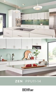 The kitchen is the heart of the home. Turn yours into a space you can relax in with a new coat of Behr Paint in Zen on the walls. This color pairs perfectly with the neutral white cabinets, marble countertops, and light wood accents in this space. Click below for full color details.