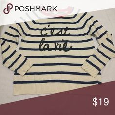 Stripe Sweater Forever 21 c'est la vie words sweater with navy blue stripes and a red collar and cream body. Worn once. Forever 21 Sweaters Crew & Scoop Necks