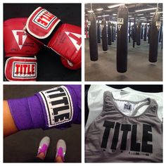TITLE Boxing Club Tulsa new gloves & wraps for POWER HOUR cardio workouts! Very cool.