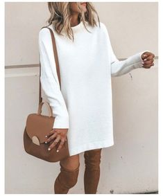 Shop this pic from @cellajaneblog #sweater #dress #with #boots #fall Sweater dress, fall style otk boots white tunic sweater dress #falloutfit #fallcasualdress Fall Dresses, Women's Dresses, Dress Outfits, Casual Outfits, Winter Sweater Dresses, Fall Sweaters, White Sweaters, Dresses Online, Dress Shoes