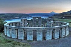 Stone Henge Replica Maryhill WA,  on the Colombia River.   Mt Hood in Oregon visible across the river.
