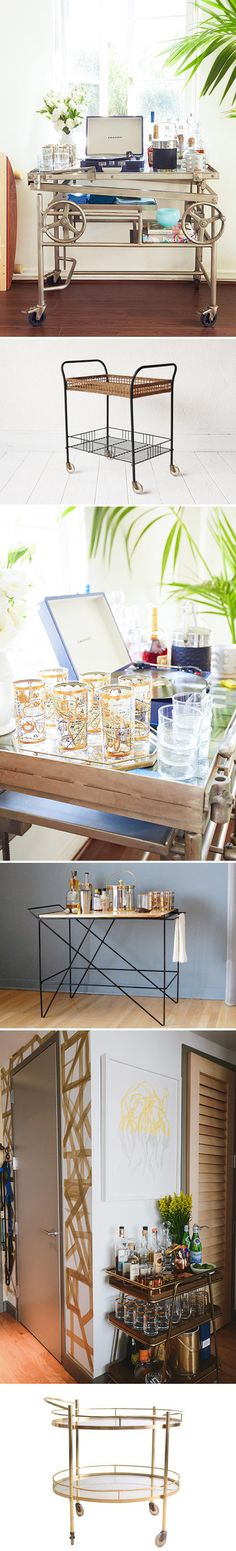 A fond throwback to '50s and '60s-style entertaining (jello molds, anyone?), bar carts are making a serious comeback — so much so that the designers at HomePolish have dubbed it one of the top interior trends for 2015. Get the look with a range of styles, both new and vintage, on Etsy. #etsy #homepolish
