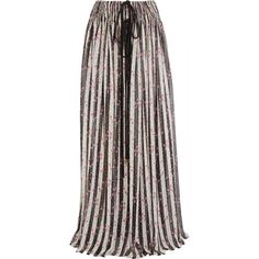 Lanvin Printed silk-chiffon maxi skirt (€2.990) ❤ liked on Polyvore featuring skirts, white, gathered skirt, stripe skirt, stripe maxi skirt, striped skirt and ruched skirt