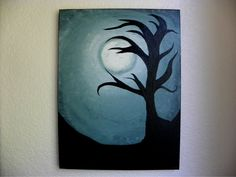 """Acrylic Painting On 16"""" by 12"""" Canvas // Hand Painted Wall Art // Custom Home Decor // Full Moon Tree Silhouette"""