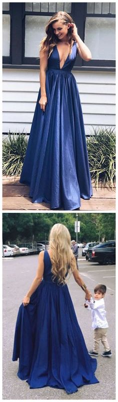 Navy Blue Prom Dresses Long, 2018 Party Dresses A-line, V-neck Formal Dresses Sexy, Girls Evening Gowns Satin with Ruffles