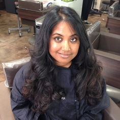 27/05/2015 After long layers and forward graduation cut and curly blow dry.