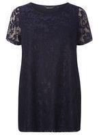 Womens DP Curve Plus Size Navy Lace T-Shirt- Blue