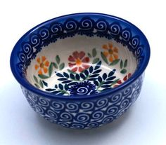"""Polish Pottery - 4.5"""" Bowls - Flower Power 