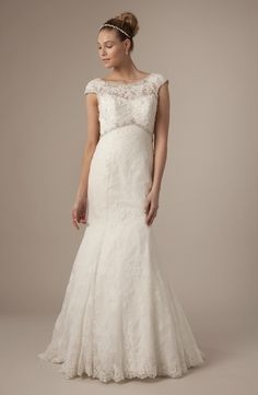 Bateau Mermaid Wedding Dress  with Empire Waist in Alencon Lace.