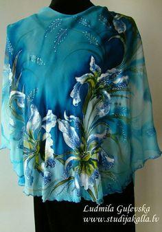 Natural silk poncho  wrap iris light blue  by Studijakalla on Etsy