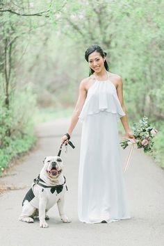 Happy bride with her