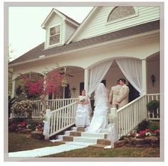 Country wedding on the front porch.