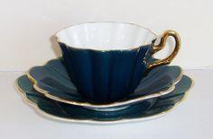 Royal Stuart, Spencer Stevenson - Bone Chine Tea Cup, Saucer & Side Plate - Blue/Green, Harlequin Pattern