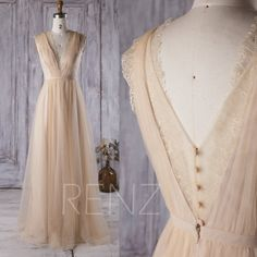 2017 Beige Tulle Bridesmaid Dress, V Neck Lace Wedding Dress, A Line Prom Dress, V Back Evening Gown, Cocktail Dress Floor Length (LS150)
