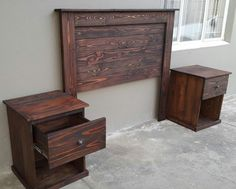 Headboard with 2 bedside tables built with recycled pallet wood.