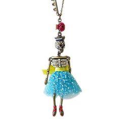 NEW! BETSEY JOHNSON HANGING NAUTICAL BOOST Skeleton Sailor Girl Dress Necklace