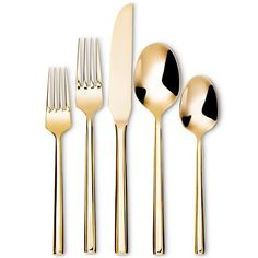 5pc Izon Flatware Set Gold - Threshold™ ($19.99) finely-crafted gold flatware at a more affordable price. Smooth sleek contours, a golden mirror finish and a sturdy, ergonomic design