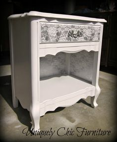 RESERVEDFrench Provincial Gray and White Nightstand by suezcues, $130.00