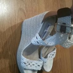 Steve Madden Wedges Amazing lightly worn Steve Madden Wedges. LOVE These!!!! they are just a bit high for me so selling. These are the perfect white crochet wedge for summer, looks amazing with everything! Steve Madden Shoes