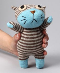 Blue Cat Sock Doll by on Stuffed Animal Patterns, Diy Stuffed Animals, Fabric Toys, Paper Toys, Sock Toys, Sock Crafts, Sock Animals, Clay Animals, Waldorf Dolls