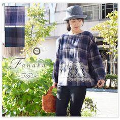 【Fanaka ファナカ】ウール コットン チェック 刺繍 付 ブラウス (72-2551-107)サイズF/グリーン/ブルー