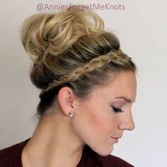 How to: Crown Braid + Messy Bun. Full tutorial link in bio.