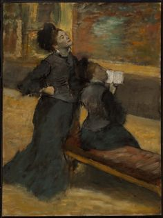 Edgar Degas (French, 1834–1917), Visit to a Museum, about 1879–90.  Oil on canvas.  91.8 x 68 cm (36 1/8 x 26 3/4 in.).  Museum of Fine Arts, Boston, 69.49