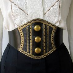 Darling Brass Studded Tooled Black Leather Wide Corset Laced Belt by ContrivedtoCharm - Steampunk Steampunk Clothing - Smoked Glass Goggles