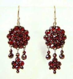 Victorian Bohemian Garnet Dangling Earrings 14K Wires
