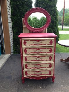 Country French shabby chic dresser and mirror