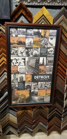 Detroit vintage images framed beautifully in unique double frame.