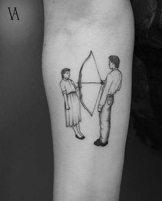 Rest Energy inspired fine line style tattoo on the right inner forearm. Rest Energy is a performance art piece created and performed by then-performance artist duo Marina Abramović and Ulay.