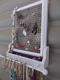 Upcycled Jewelry Display/Jewelry Hanger/Housewares/Wall Decor/ Wall Jewelry Hanger. $53.99, via Etsy.