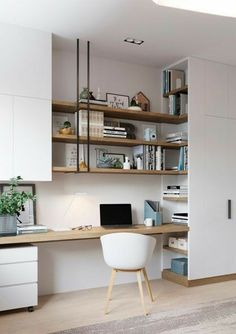Home Office Bedroom, Home Office Space, Home Office Decor, Home Decor, Office Ideas, Office Interior Design, Interior Modern, Office Interiors, Modern Decor