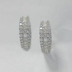 1.05 CT F SI1 Round and Princess Cut Diamond Hoop Earrings in 18K White Gold -IDJ015277