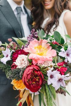 Gorgeous Colorful Fall Bouquet | photography by http://www.vuephotographyonline.com | floral design by http://www.gertiemaes.com