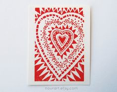 red heart greeting card -- hand-printed linocut, 4x6, blank inside -- love, white, art card, block print, relief print, hand-pulled. $5.00, via Etsy.
