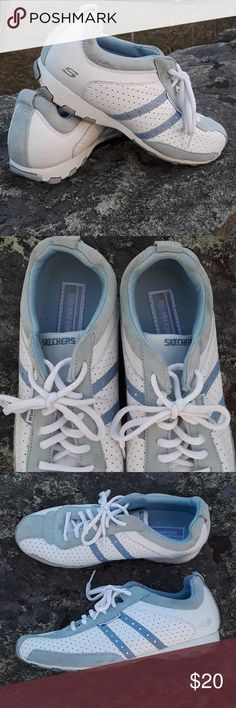 Skechers women sneakers Excellent condition soles are perfect lightware that hardly noticeable on right toe breathable leather cute detail with rhinestone on side great support for feet no rips smoke-free home Skechers Shoes Athletic Shoes