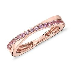 NEW Pink Sapphire Infinity Eternity Ring in 14k Rose Gold (1.5mm)