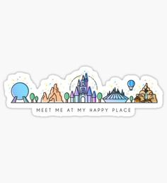Disney: Stickers Meet me at my Happy Place Vector Orlando Theme Park Illustration Design Sticker The post Disney: Stickers appeared first on Paris Disneyland Pictures. Stickers Cool, Red Bubble Stickers, Tumblr Stickers, Phone Stickers, Printable Stickers, Disney Babys, Homemade Stickers, Illustration Vector, Aesthetic Stickers