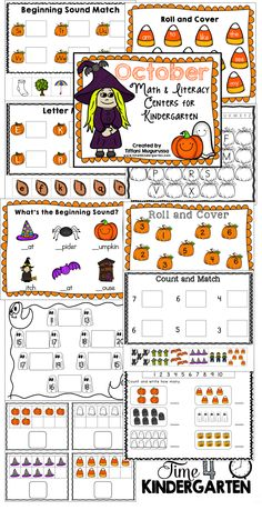October Math and Literacy Centers ofr Kindergarten. Ink friendly centers