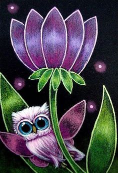 TINY PINK FAIRY OWL ... YOUR FLOWER