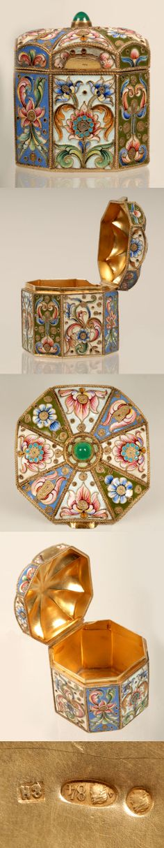 A Russian silver gilt and shaded cloisonne enamel box, Nicholai Zverev, Moscow, circa 1908-1917. The octagonal box painted with panels of stylized polychrome flower-heads against alternating blue and cream grounds, the paneled domed lid with additional enamel designs and topped by a green hardstone finial