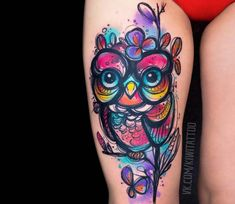 Owl tattoo by Kiwi Tattoo