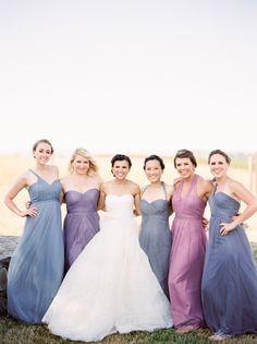 Dusty purple and blue bridesmaid dresses: Photography: Coco Tran   cocotran.com Bridesmaids' Dresses: Jenny Yoo   www.jennyyoo.com/ Wedding Dress: Vera Wang   www.verawang.com   View more: http://stylemepretty.com/vault/gallery/55491